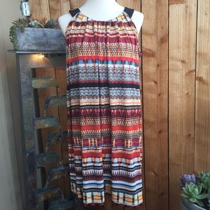 Tribal Print Mixed Pattern Shift Dress Enfocus